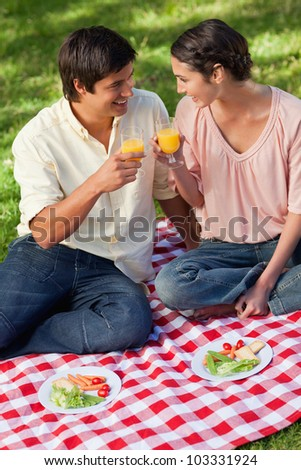 Man and a woman smiling as they raise their glasses of orange juice during a picnic with salad in from on them - stock photo
