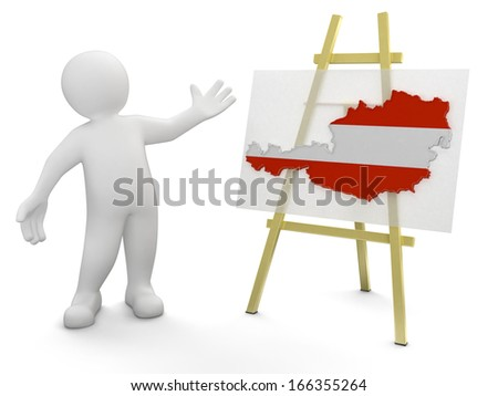 Man and Austrian map (clipping path included) - stock photo