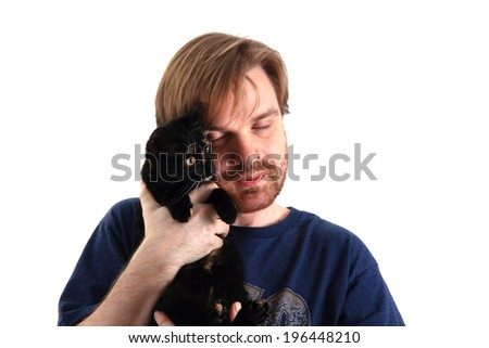 man and black cat isolated on the white background - stock photo