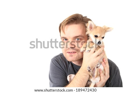 man and chihuahua isolated on the white background - stock photo