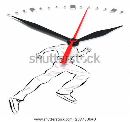 Man and clock. Running man.  Escaping time white background. - stock photo