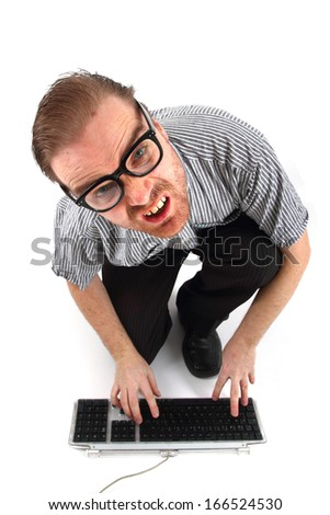 man and computer problem (technical support)  - stock photo
