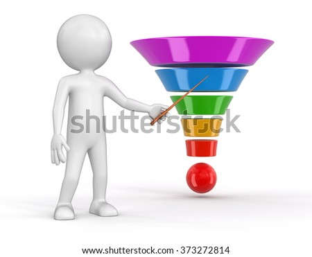 Man and 3d cone. Image with clipping path