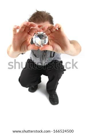 man and diamond - stock photo