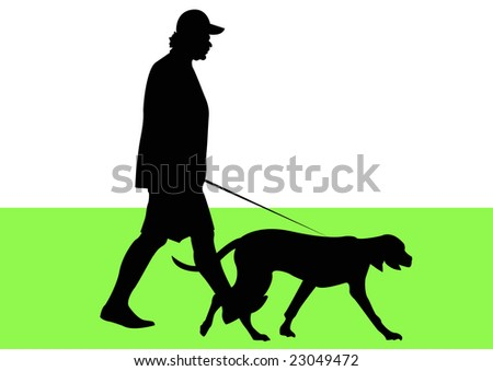 man and dog in park