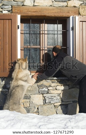 Man and dog looking at window - stock photo