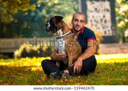 Man And Dog Outdoor - stock photo