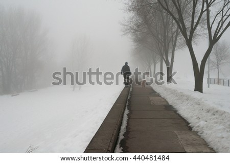 Man and dog walking in snow on misty winter day. - stock photo