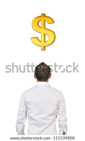 man and dollar sign looking in front - stock photo