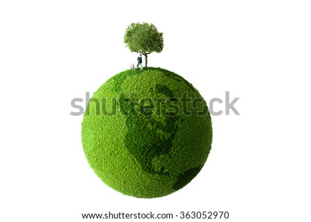 Man and doug on the green globe - stock photo