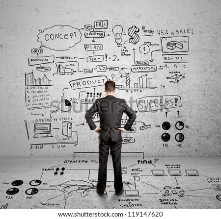 man and drawing global concept - stock photo