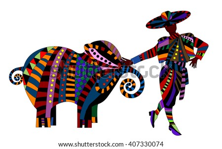 man and elephant in the abstract style on a white background - stock photo