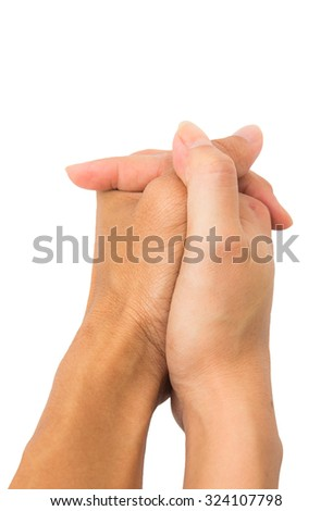 Man and female hand hold together isolated on white background. - stock photo