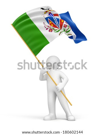 Man and flag of Yukon (clipping path included)