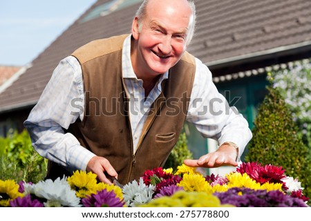 Man and flowers