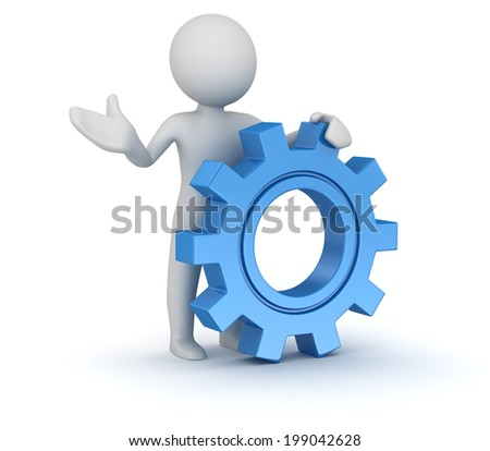 Man and gear , computer generated image. 3d render. - stock photo