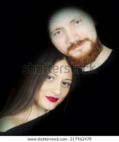 Man and girl. - stock photo