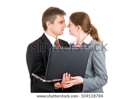 man and girl with notebook - stock photo