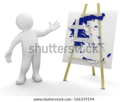 Man and Greek map (clipping path included) - stock photo