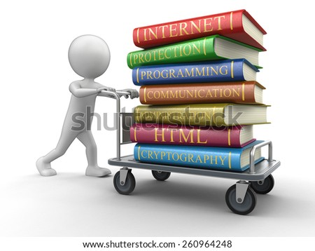 Man and Handtruck with books on computer security - stock photo
