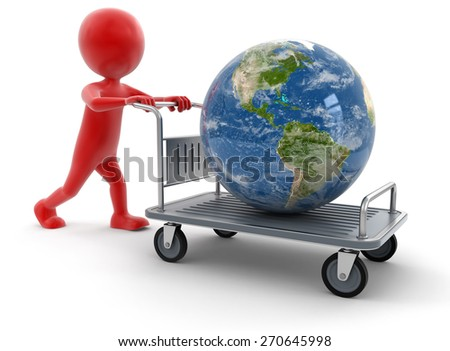 Man and Handtruck with Globe (clipping path included)  Elements of this image furnished by NASA - stock photo