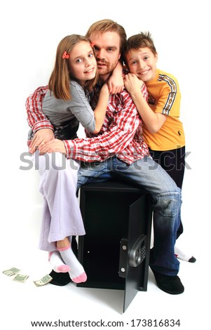 man and his childerns with empty safe  - stock photo