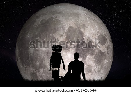 Man and his robot friend looking on moon. Future technology concept, artificial intelligence. 3D rendering. Elements of this image furnished by NASA  - stock photo