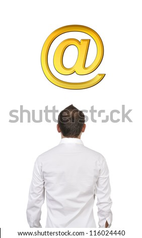 man and mail sign sign looking in front - stock photo