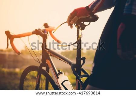 Man and mountain Bike - stock photo