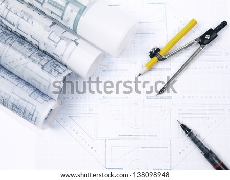 man and open book with building construction on white use  for multipurpose about construction and architecture - stock photo