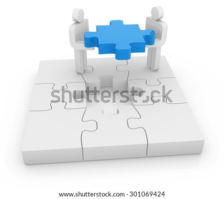 Man and puzzle piece , This is a computer generated and 3d rendered picture. - stock photo