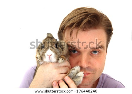 man and rabbit - stock photo