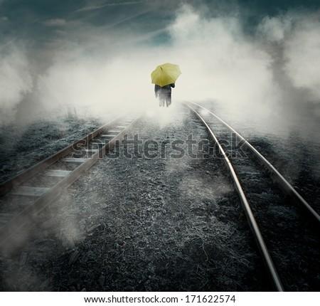 man and railway - stock photo