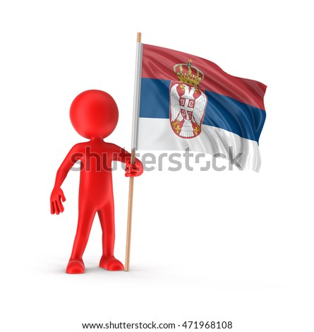 Man and Serbian flag. Image with clipping path
