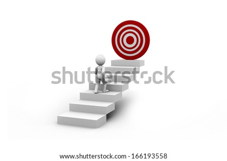 Man and Step with goal target business concept over white.