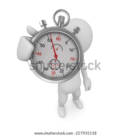 Man and stopwatch , computer generated image. 3d rendered image. - stock photo