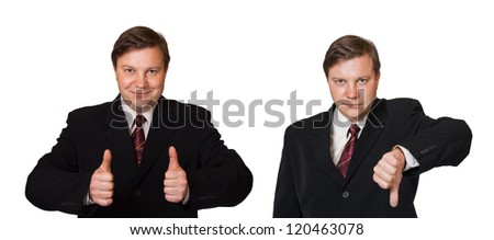 Man and thumb gesture isolated on white background - stock photo