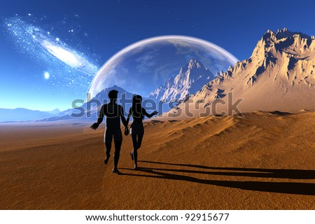 Man and woman are in the desert.