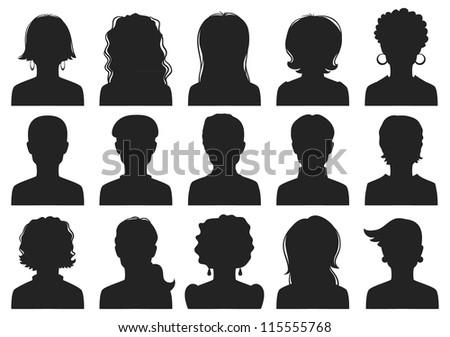 Man and woman avatars - stock photo