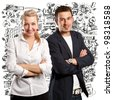 man and woman business people, with folded hands, looking on camera - stock photo