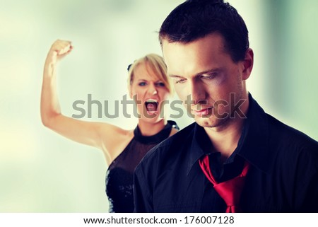 Man and woman conflict.Violence concept - stock photo