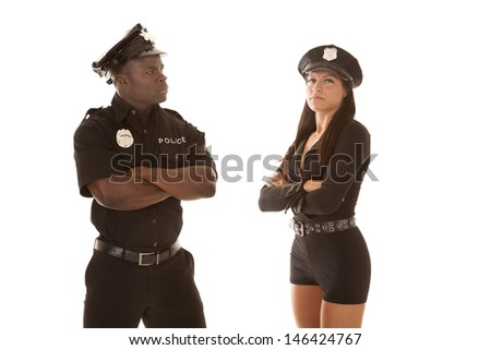 Man and woman cop are both mad.