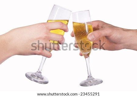 Man and woman do a cheers with wine goblets - stock photo