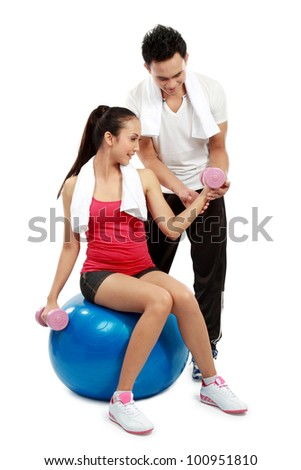 man and woman doing sport isolated over white background - stock photo