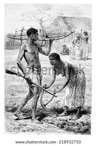 Man and Woman from Bie in Angola, Southern Africa, drawing by Maillart based on the English edition, vintage engraving. Le Tour du Monde, Travel Journal, 1881 - stock photo