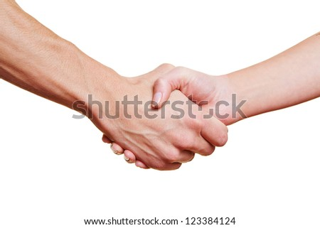 Man and woman giving handshake with their hands