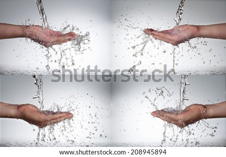 man and woman hand in water splash set  - stock photo