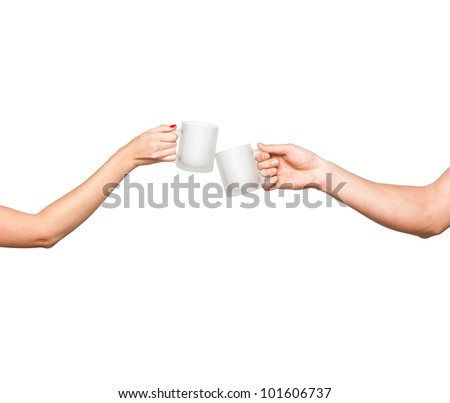 man and woman hands clinking cups