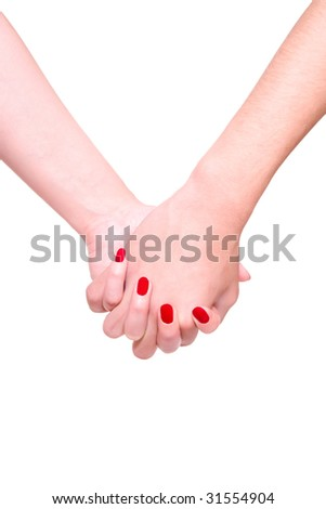 man and woman hands on white