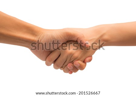 man and woman handshake on white background